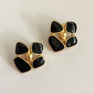 80's vintage gold and enameled earrings